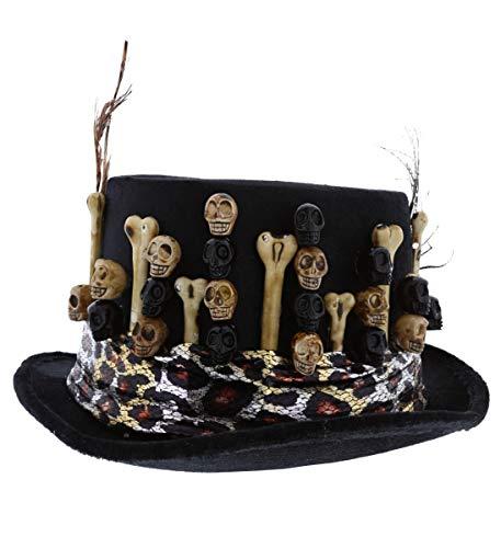 Attitude Studio Black Fedora Hat with Skulls & Bones, Adults Halloween Costume