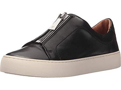FRYE Women's Lena Zip Low Fashion Sneaker, Black Polished Soft Full Grain, 10 M US