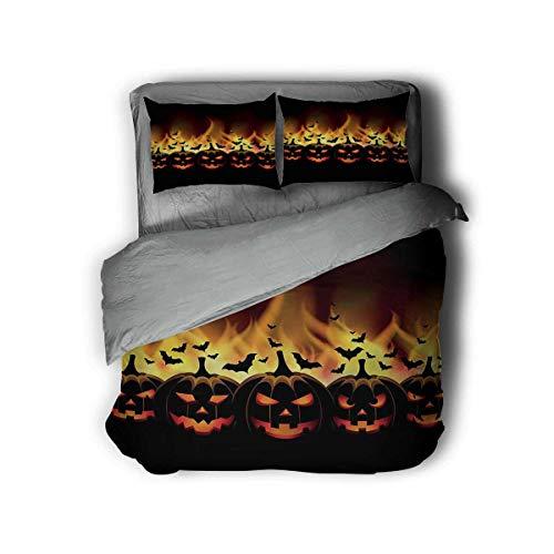 Miles Ralph Vintage Halloween 3-Piece Duvet Cover Jack o Lanterns King Duvet Set Girlfriend Gifts