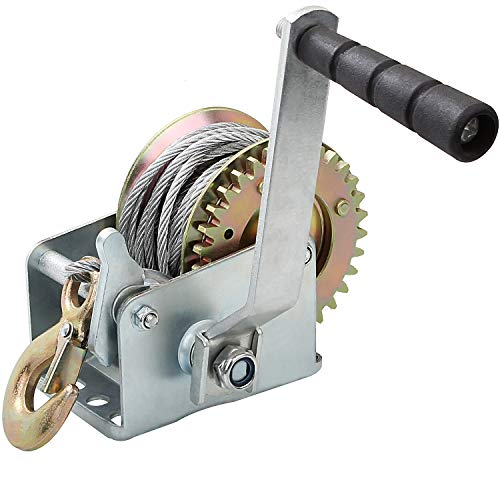 800lbs Capacity Heavy Duty Hand Winch, Crank Strap Gear Winch with 26FT Steel Cable and Hook, Manual Lifting Winches for Boat, Trailer, ATV or Shop Crane, Small Hoist for Deer Feeder or Others