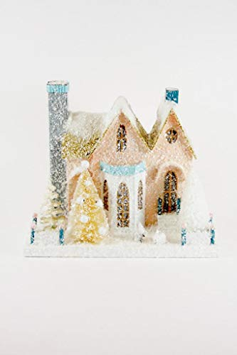 Cody Foster Enchanted Woods Peach Cottage with Bunny Christmas Village Mantel House