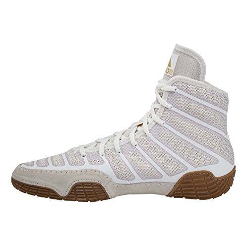 adidas Men's Varner Wrestling Shoe, White/Matte Gold/Brown, 10.5