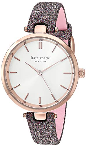 Kate Spade Women's Holland Stainless Steel Quartz Watch with Leather Strap, Multicolor, 12 (Model: KSW1580)