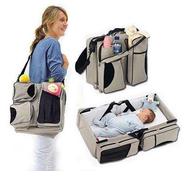 Multi-Purpose 3 in 1 Diaper Bag - Travel Bassinet - Change Station - (Cream) #1 Baby Diaper Tote Bag - Good Gift Idea