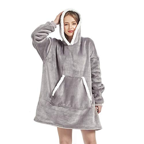 Sherpa Sweatshirt Blanket Adult,Standard Size Hoodie Blanket , Plush Fleece Blanket Sweatshirt with Sleeves and Pockets for Men, Women , Gifts for Families (Grey, 3939 inches)