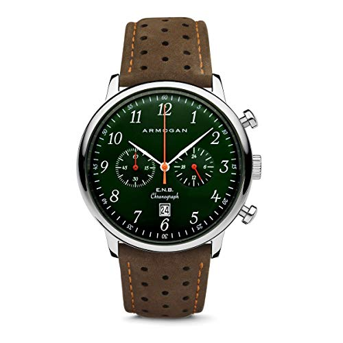 Armogan E.N.B - Emerald Green S52 - Men's Chronograph Watch Brown Suede Leather Strap