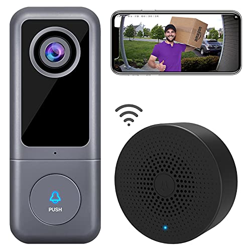 【2021 Upgraded】 WiFi Video Doorbell Camera, XTU (Wired) Doorbell Camera with Chime, 2K Ultra HD, 2-Way Audio, Night Vision, Easy Installation, Motion Detection, IP65 Waterproof