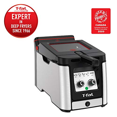 T-fal Odorless Stainless Steel lean Deep Fryer with Filtration System, 3.5-Liter, Silver