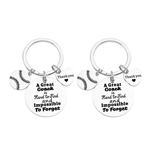 FY 2 Pcs Softball Coach Keychain Great Coach is Hard to Find and Impossible to Forget Keychain Gift for Softball Coach Thank You Keychain Softball