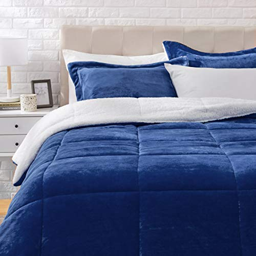 AmazonBasics Ultra-Soft Micromink Sherpa Comforter Bed Set, Full or Queen, Navy Blue - 3-Piece