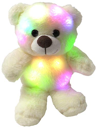 The Noodley Small Teddy Bear Stuffed Animal for Sleep Light-Up Toy Plushies Night Light for Kids, Toddlers, White 11'