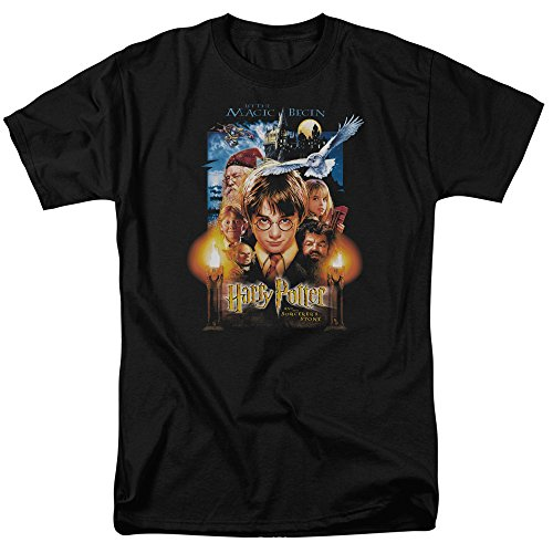 Harry Potter and the Sorcerer's Stone Movie Poster Adult Men's T-shirt Black (Large)