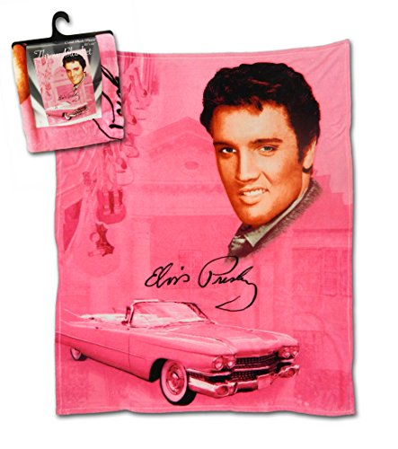 Midsouth Products Elvis Throw Blanket 50' X 60' - Pink with Guitars