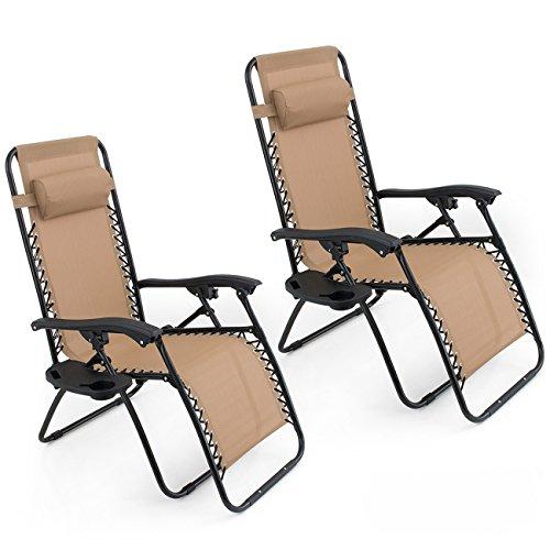 BELLEZE Set of (2) Anti Zero Gravity Chairs w/Tray Cup Holder Rust Resistant Lightweight Patio Garden Chair, Beige