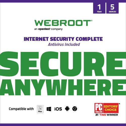 Webroot Internet Security Complete Virus Protection Software 2021 5 Devices+Identity Protection, Secure Web Browsing, Password Manager,Cloud Backup, iPhone & Android|1 Year[PC/Mac Instant Access]