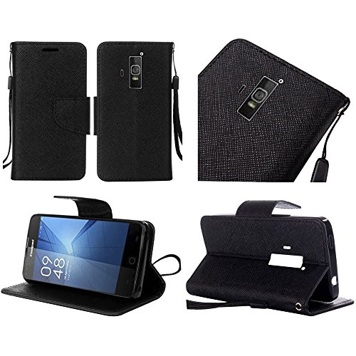 Luckiefind Compatible with Coolpad Rogue (T-Mobile, T-Mobile), PU Leather Flip Wallet Credit Card Cover Case, Stylus Pen Accessories (Wallet Black)