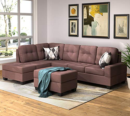 Merax 3 Piece Sectional Sofa L-Shape Sectional Sofa Set with Reversible Chaise Lounge Storage Ottoman and Cup Holders for Living Room,Brown