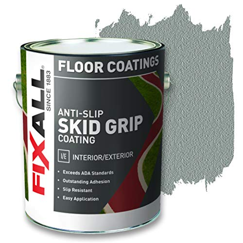 FIXALL Skid Grip Anti-Slip Paint, 100% Acrylic Skid-Resistant Textured Coating - F06570 - 1 Gallon, Color: Smoke