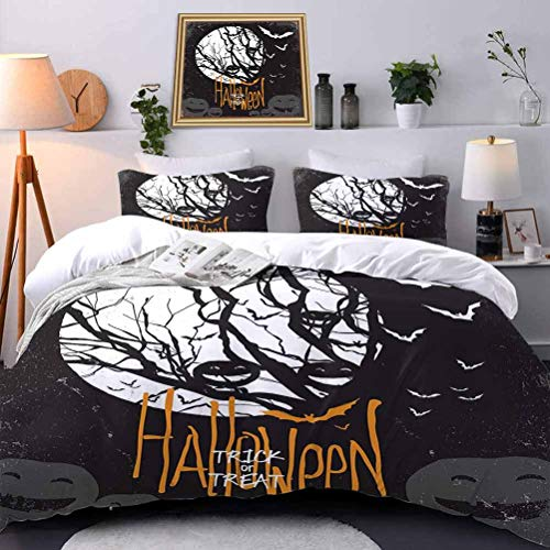 Duvet Cover Set Quilt cover Vintage Halloween Eco Friendly Wrinkle Free Halloween Themed Image with Full Moon and Jack o Lanterns on a Tree Decorative 3 Piece Bedding Set with 2 Pillow Shams King Size