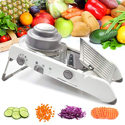 Vegetable Mandoline Slicer Waffle Cutter French Fry Shredder Fruit Chopper Potato Julienne Veggie Onion Peeler Tomato Grater Adjustable Thicknesses Safety Hand Guard Stainless Steel Blade (white)
