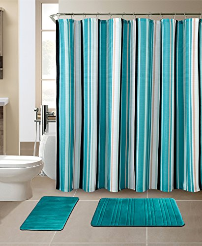All American Collection 15-Piece Bathroom Set with 2 Memory Foam Bath Mats and Matching Shower Curtain | Designer Patterns and Colors