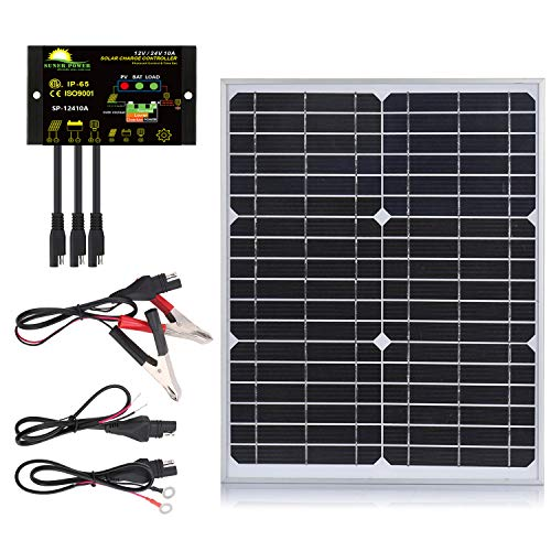 SUNER POWER [Upgraded] 20 Watts Mono Crystalline 12V Off Grid Solar Panel Kit - Waterproof 20W Solar Panel + Photocell 10A Solar Charge Controller with Work Time Setting + SAE Connection Cable Kits
