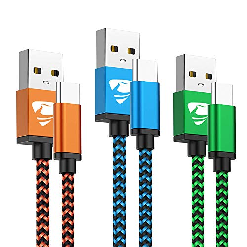 Type C Cable Fast USB C Charging 6FT 3Pack Power Cord Braided Phone Charger for Samsung Galaxy A10e A11 A20 A21 A50 A51 A41 A71 A31 A01 S10e S9 S10 S20, Moto G7 G6 G Z Z4, LG K51 Stylo 6 5 G8 V20 V60
