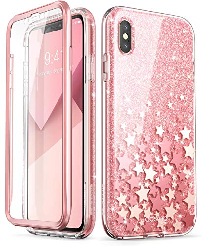 i-Blason Cosmo Full-Body Bling Glitter Sparkle Clear Bumper Case Built-in Screen Protector for iPhone Xs Max 2018 Release, Pink, 6.5'