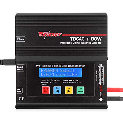 Tenergy TB6AC+80W Balance Charger Discharger, 1S-6S Intelligent Digital Battery Pack Charger for NiMH/NiCd/Li-Po/Li-Fe Packs, LCD RC Battery Charger w/ Tamiya/JST/EC3/HiTec/Deans Connectors