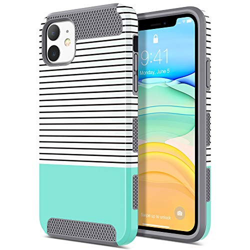 ULAK Compatible with iPhone 11 Case, Slim Hybrid Hard PC Shell Shockproof Phone Case for Women Girls, Anti-Scratch Protective Bumper Cover Designed for iPhone 11 6.1 inch, Mint Stripes