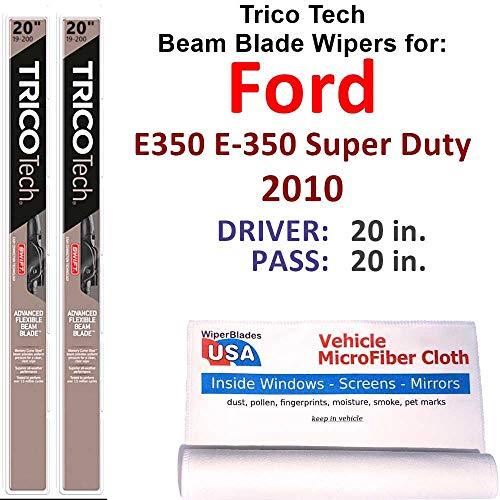 Beam Wiper Blades for 2010 Ford E350 E-350 Super Duty Set Trico Tech Beam Blades Wipers Set Bundled with MicroFiber Interior Car Cloth