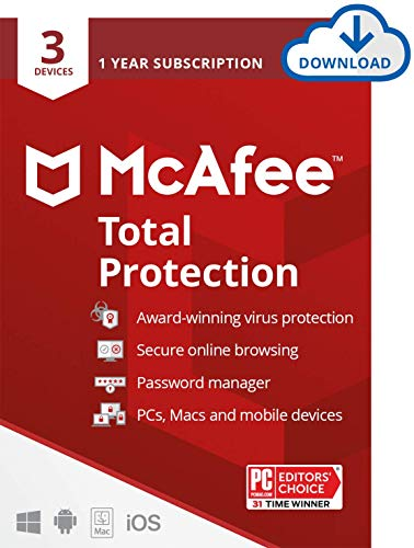 McAfee Total Protection 2021, 3 Device Antivirus Internet Security Software, Password Manager, Privacy, 1 Year Subscription - Download Code