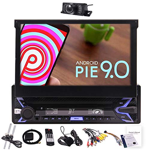 Pure Android 10.0 7' Flip Out Capacitive Touchscreen Single Din Radio GPS InDash Navigation System 1Din Car Stereo Bluetooth Multimedia Player WiFi Phone Mirror FM AM RDS USB with Rearview Camera&MAP