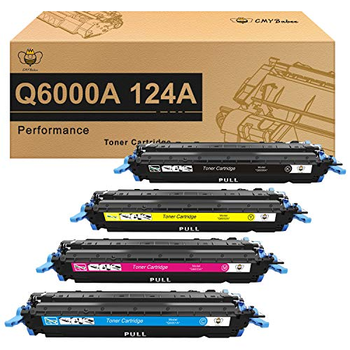 CMYBabee Compatible Toner Cartridge Replacement for HP 124A Q6000A Q6001A Q6002A Q6003A Color Laserjet 1600 2600n 2605dn 2605dtn CM1015 CM1017 MFP (Black, Cyan, Yellow, Magenta, 4-Pack)