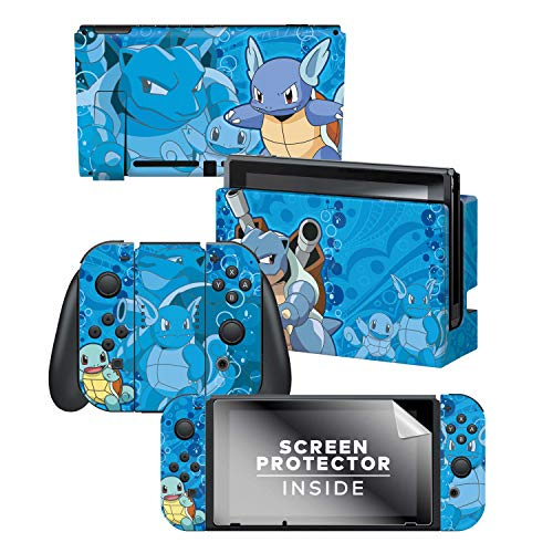 Controller Gear Nintendo Switch Skin & Screen Protector Set - Pokemon - Squirtle Evolutions Set 1 - Nintendo Switch