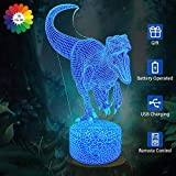 Flow.month Dinosaur Toy Night Light, 3D Led Illusion Color Changing Touch Remote Control Dimmable Table Lamp, Kids Boys Birthday Gift Children Bedroom Decor Nightlight