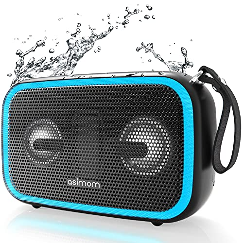 Bluetooth Speaker, ASIMOM IPX7 Waterproof Bluetooth Speakers, 28W Loud Bass, Beat-Driven LED Light, Bluetooth 5.0, Build-in Mic, Wireless Stereo Pairing, Portable Speaker for Outdoor, Pool, Beach