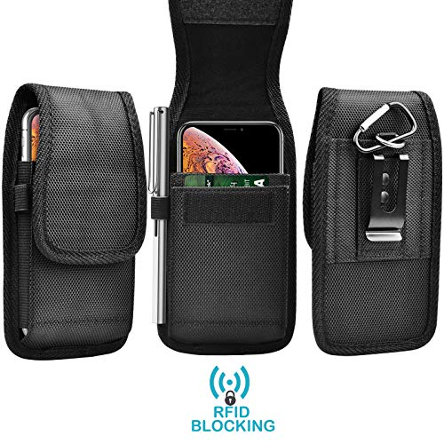 Tekcoo Phone Holster for iPhone 11 Pro Max/Galaxy Note 10 + / S20 Ultra / A01 A21 A51 A71 / Moto G Power G Stylus/LG V60 Nylon Oxford Belt Clip Pouch Carrying [RFID] Wallet Case Card Holder Slots