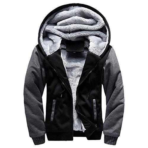 Toimothcn Mens Faux Fur Lined Coat Winter Warm Fleece Hood Zipper Sweatshirt Jacket Outwear (Black,4XL)