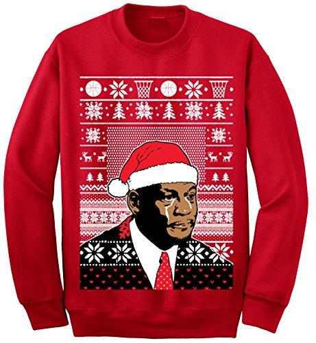 Adult Jordan Crying Meme Ugly Christmas Sweater Sweatshirt X-Large Red