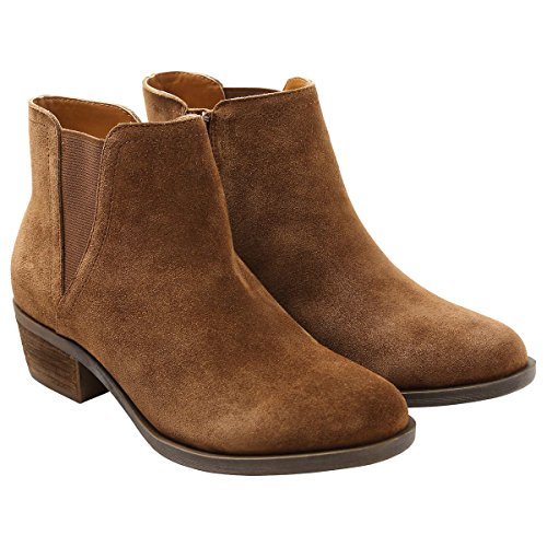 Kensie Ladies' Size 6.5 Short Heel Suede Bootie, Brown