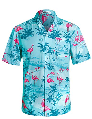 Men's Hawaiian Shirt Flamingo 4 Way Stretch Relax Fit Tropical Shirts HWS020 Blue XL