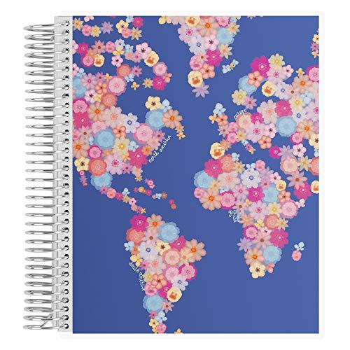 Erin Condren Coiled Notebook (Dot Grid Layout) - Global Garden (Iris) Designer Interchangeable Cover, Dot Grid Paper (5mm Standard) Measures 7'x 9', Boost Productivity, Durable, Pretty, Cute, Stylize
