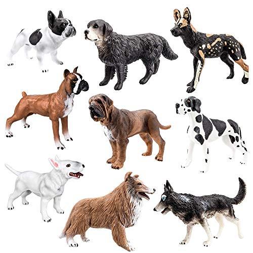 TOYMANY 9PCS Dog Figurines, High Emulational Detailed Dog Figures Set, Hand Painted Dog Toy Set for Kids Toddlers