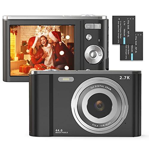Digital Camera, FamBrow 2.7K Ultra HD 44 MP Vlogging Camera with 16X Digital Zoom,Point & Shoot Digital Camera with 2.88' LCD Screen Compact Portable Mini Camera for Beginner,Teens, Kids (Black)