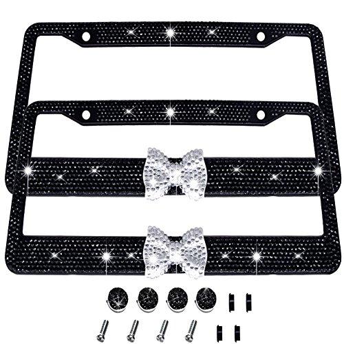 Bling Bling License Plate Frames -2 Pack-8 Row Pure Handmade Waterproof Glitter Rhinestones Crystal License Frames Plate for Cars with 2 Holes with Screws Caps Set (Black & White Bowtie)