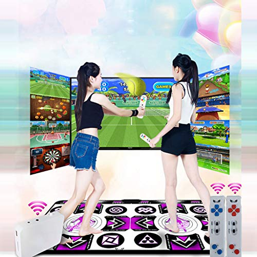 Double Dancing Mat for Kids Adults,Double User Wireless Dance Mat Game TV Non-Slip + 2 Remote Controller,Multi-Function Games & Levels,Sense Game for PC TV for 2 Person (Without Battery)