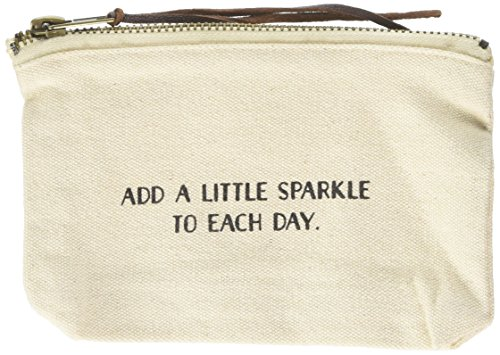 Mud Pie Add A Little Sparkle to Each Day Cosmetic Bag, Off White