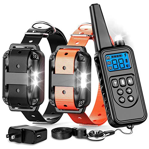 Dog Training Collar, with Remote 2018 Upgraded Range 865 Yards Shock Collar for Large Medium Small Dogs with Light Beep Vibration Shock, Waterproof and Rechargeable Dog Shock Collar for 2 dogs