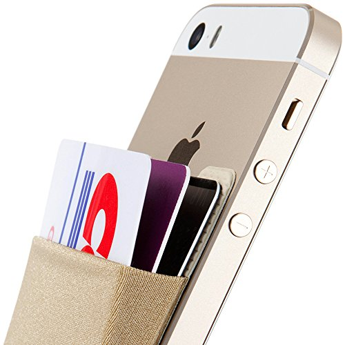 Sinjimoru Card Holder, Stick-on Wallet Functioning as iPhone Wallet Case, iPhone case with a Card Holder, Credit Card Wallet, Card Case and Money Clip. for Android, Too. Sinji Pouch Basic 2, Beige